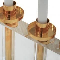 Contemporary Modern French Brass and Methacrylate Pair of Candelabras - 1550024