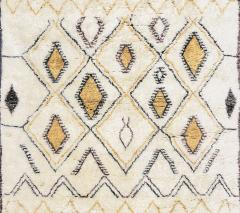 Contemporary Moroccan Ivory and Multi Color Wool Rug with Tribal Pattern - 1409985