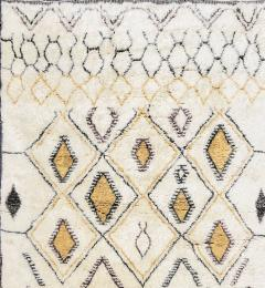 Contemporary Moroccan Ivory and Multi Color Wool Rug with Tribal Pattern - 1409986