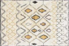 Contemporary Moroccan Ivory and Multi Color Wool Rug with Tribal Pattern - 1409987
