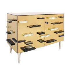 Contemporary Murano Glass Mirror and Brass Pair of Italian Sideboards - 1186934