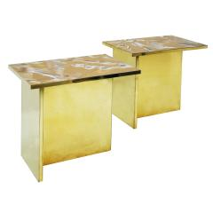 Contemporary Pair Of Perplex And Brass Coffee Tables - 866435