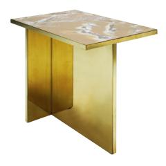 Contemporary Pair Of Perplex And Brass Coffee Tables - 866436