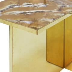 Contemporary Pair Of Perplex And Brass Coffee Tables - 866440