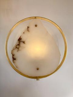 Contemporary Pair of Alabaster Circle Brass Sconces Italy - 1571126
