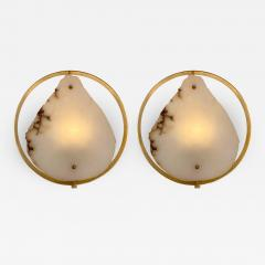 Contemporary Pair of Alabaster Circle Brass Sconces Italy - 1573896