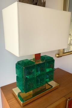 Contemporary Pair of Brass Lamps Green Diamond Murano Glass - 1588454