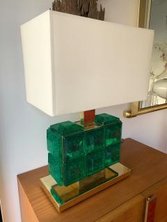 Contemporary Pair of Brass Lamps Green Diamond Murano Glass - 1588457