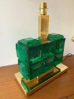 Contemporary Pair of Brass Lamps Green Diamond Murano Glass - 1588458