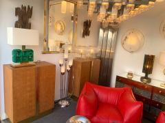 Contemporary Pair of Brass Lamps Green Diamond Murano Glass - 1588460