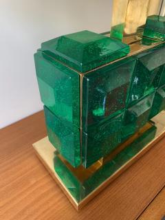 Contemporary Pair of Brass Lamps Green Diamond Murano Glass - 1588462