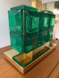 Contemporary Pair of Brass Lamps Green Diamond Murano Glass - 1588464