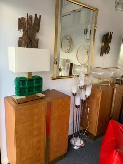 Contemporary Pair of Brass Lamps Green Diamond Murano Glass - 1588465