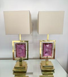 Contemporary Pair of Brass Lamps Murano Glass Italy - 1409135