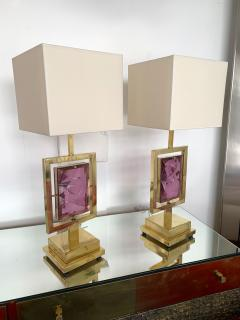 Contemporary Pair of Brass Lamps Murano Glass Italy - 1409139