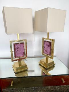 Contemporary Pair of Brass Lamps Murano Glass Italy - 1409140