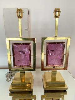 Contemporary Pair of Brass Lamps Murano Glass Italy - 1409141