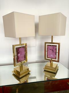 Contemporary Pair of Brass Lamps Murano Glass Italy - 1409142