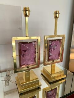 Contemporary Pair of Brass Lamps Murano Glass Italy - 1409143