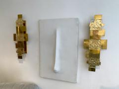 Contemporary Pair of Brass Sconces Geometrical Murano Glass Italy - 1249090