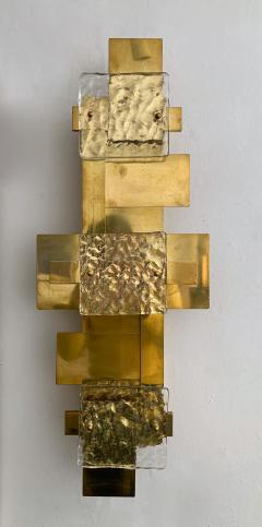 Contemporary Pair of Brass Sconces Geometrical Murano Glass Italy - 1249091