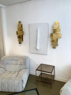 Contemporary Pair of Brass Sconces Geometrical Murano Glass Italy - 1249096