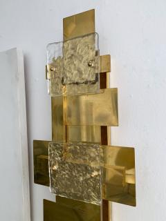 Contemporary Pair of Brass Sconces Geometrical Murano Glass Italy - 1249097