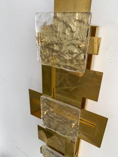Contemporary Pair of Brass Sconces Geometrical Murano Glass Italy - 1249102