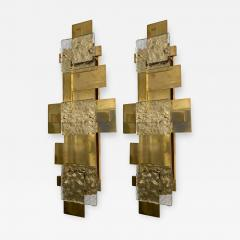 Contemporary Pair of Brass Sconces Geometrical Murano Glass Italy - 1251016