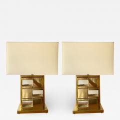 Contemporary Pair of Brass and Murano Glass Checkerboard Lamps - 1584860
