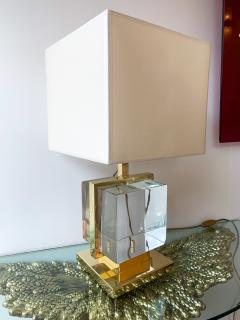 Contemporary Pair of Lamps Brass Cage Murano Glass Cube Italy - 1247870