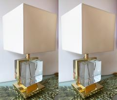 Contemporary Pair of Lamps Brass Cage Murano Glass Cube Italy - 1247873
