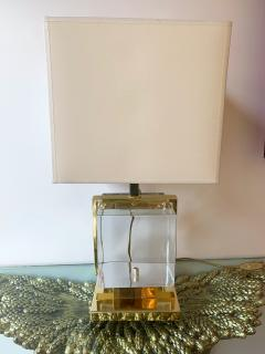 Contemporary Pair of Lamps Brass Cage Murano Glass Cube Italy - 1247881
