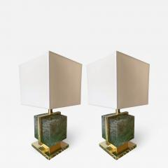 Contemporary Pair of Lamps Brass Cage Murano Glass Cube Italy - 1251013