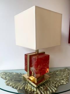 Contemporary Pair of Lamps Brass Cage Murano Glass Cube Italy - 1248673