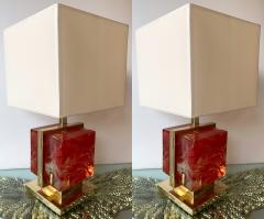 Contemporary Pair of Lamps Brass Cage Murano Glass Cube Italy - 1248679