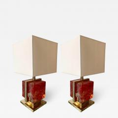 Contemporary Pair of Lamps Brass Cage Murano Glass Cube Italy - 1251014