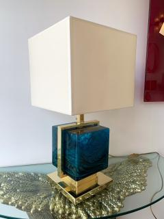 Contemporary Pair of Lamps Brass Cage Murano Glass Cube Italy - 1248877