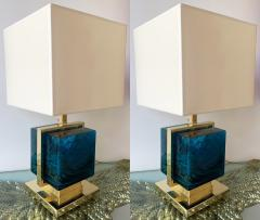 Contemporary Pair of Lamps Brass Cage Murano Glass Cube Italy - 1248884