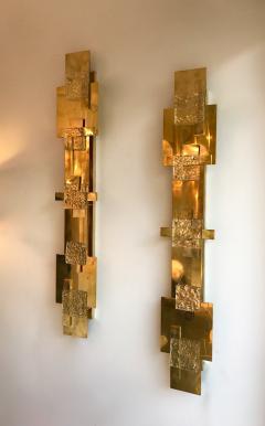 Contemporary Pair of Sconces Geometrical Brass Murano Glass Italy - 522518