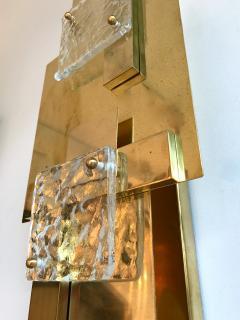 Contemporary Pair of Sconces Geometrical Brass Murano Glass Italy - 522519