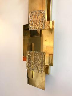 Contemporary Pair of Sconces Geometrical Brass Murano Glass Italy - 522520