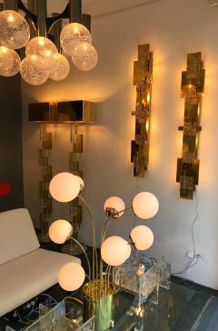 Contemporary Pair of Sconces Geometrical Brass Murano Glass Italy - 522521