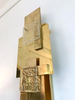 Contemporary Pair of Sconces Geometrical Brass Murano Glass Italy - 522522