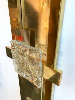 Contemporary Pair of Sconces Geometrical Brass Murano Glass Italy - 522523