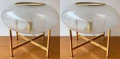 Contemporary Pair of UFO Brass and Murano Glass Lamps - 1512148