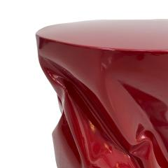 Contemporary Red Lacquered Metal Side Table - 2071203