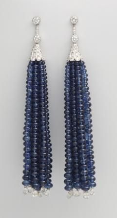 Contemporary Sapphire Bead and Diamond Tassel Earrings in 18K White Gold - 85562