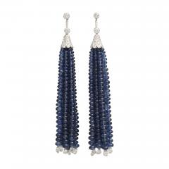 Contemporary Sapphire Bead and Diamond Tassel Earrings in 18K White Gold - 86179