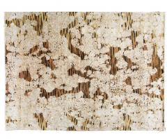 Contemporary Tiger Wool and Silk Hand Knotted Rug in Brown and Cream - 1406808